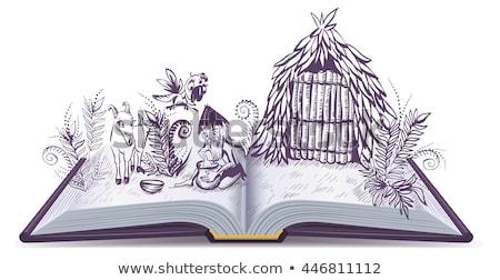 пустыне острове открытой книгой Adventure Cartoon иллюстрация Сток-фото © orensila
