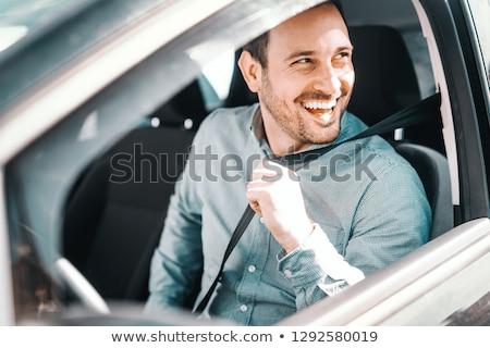 Hombre guapo sesión coche hombre construcción moda Foto stock © konradbak