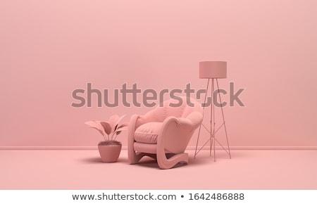 fioletowy · pokój · biały · fotel · 3D - zdjęcia stock © andreasberheide