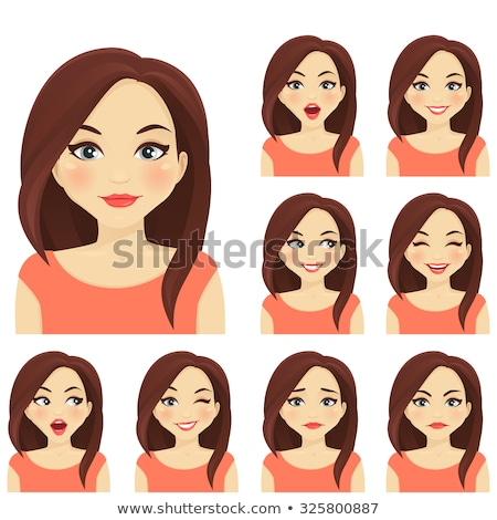Cute fille différent expressions faciales illustration visage Photo stock © bluering