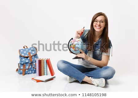 A young girl holding the globe Stock photo © bluering