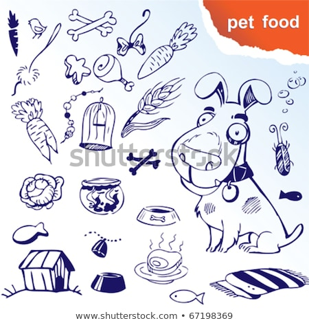 vector set of colorful plastic dog bowls with dog food stock photo © freesoulproduction