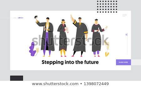 Boy and girl in graduation gown Stock photo © bluering