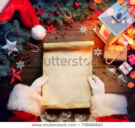 Stock fotó: Karácsony · levél · mikulás · fa · asztal · ajándékok · gyertyák