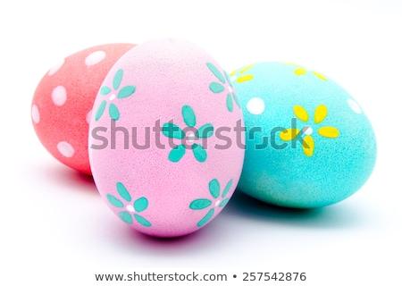 Foto stock: Três · rosa · ovos · de · páscoa · grama · verde · 3D