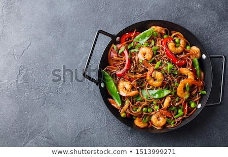 fried shrimpvegetable and noodles stock photo © m-studio
