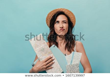 young pretty brunette woman posing emotional isolated on white background thinking lifestyle people stock photo © iordani