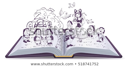 Open book illustration. Fairy tale Snow White and 7 Dwarfs Stock photo © orensila