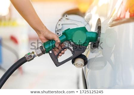 közelkép · férfi · üzemanyag · fúvóka · autó · közlekedés - stock fotó © hofmeester