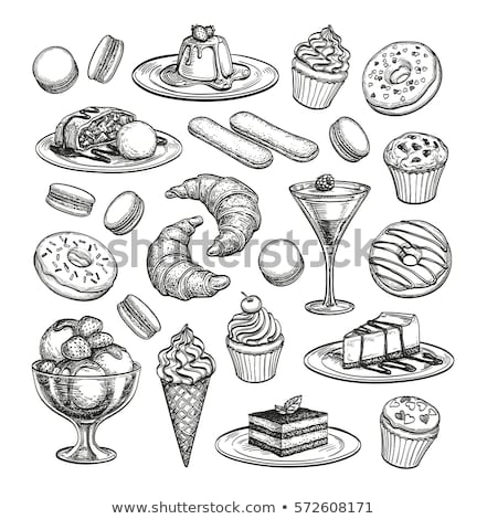 kézzel · rajzolt · croissant · torta · sajttorta · desszert · rajz - stock fotó © user_11397493
