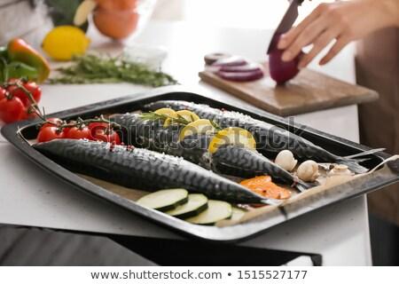 Friss sütés tálca zöldségek konzervdoboz étel Stock fotó © Digifoodstock