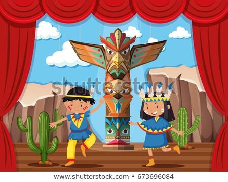 Kettő gyerekek játszanak őslakos indiai színpad illusztráció Stock fotó © bluering