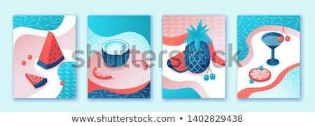 koktél · menü · terv · színes · borospoharak · üvegek - stock fotó © curiosity