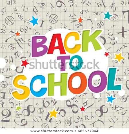terug · naar · school · poster · geïsoleerd · witte · vector · schrijfbehoeften - stockfoto © pashabo