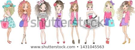 Happy lady fashion illustrator drawing Stock photo © deandrobot
