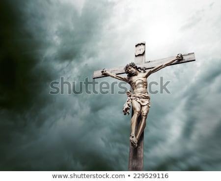 Christian cross with Jesus Christ statue Stock photo © stevanovicigor
