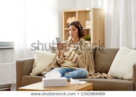 Chorych smartphone cartoon komórkowych wirus komputerowy Zdjęcia stock © blamb