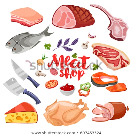 Meat flavoring and cheese flat food icons set vector. Fresh meat icon Stock photo © MarySan