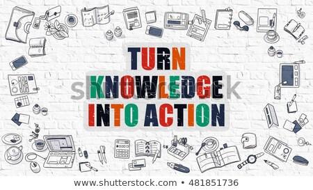 Vuelta conocimiento acción blanco moderna línea Foto stock © tashatuvango