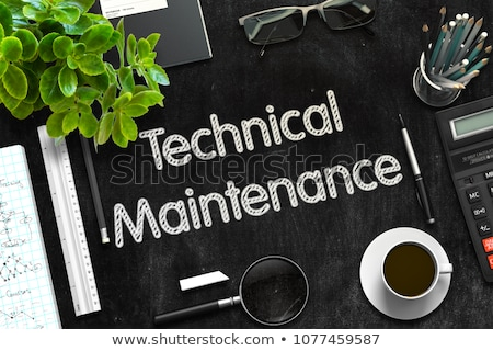 maintenance on black chalkboard 3d rendering stock photo © tashatuvango