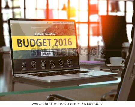 Presupuesto 2016 portátil Screen primer plano aterrizaje Foto stock © tashatuvango