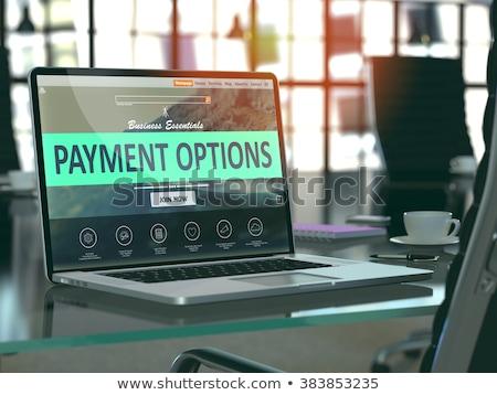 Fizetés lehetőségek laptop képernyő közelkép leszállás Stock fotó © tashatuvango