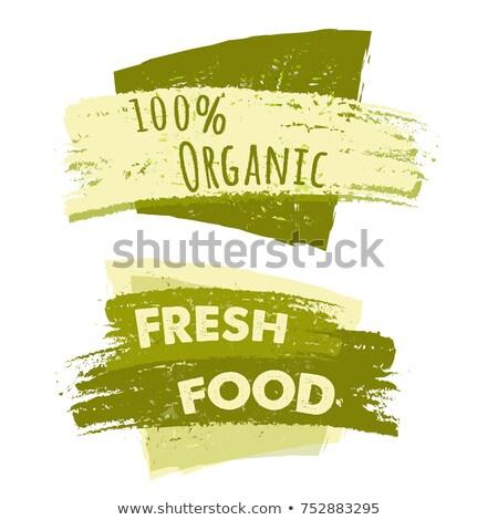 100 Percent Organic And Fresh Food Two Drawn Banners Stockfoto © marinini