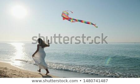 jogar · pipa · mulher · homem · diversão · férias - foto stock © is2