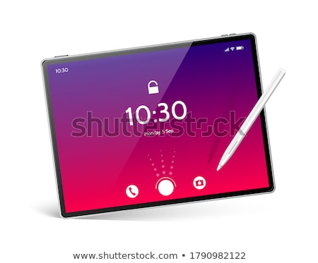 modern red digital tablet with blue screen vector stock photo © robuart