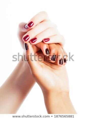 belo · manicure · mãos · unhas · vermelhas · estância · termal · vermelho - foto stock © iordani