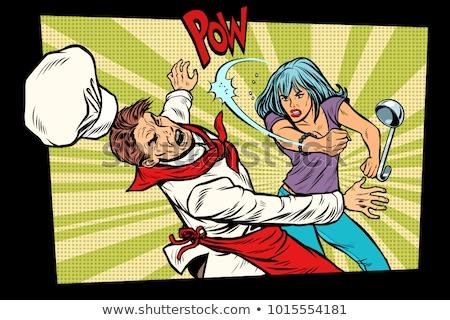 restaurant food. Unhappy customer fights chef Stock photo © studiostoks