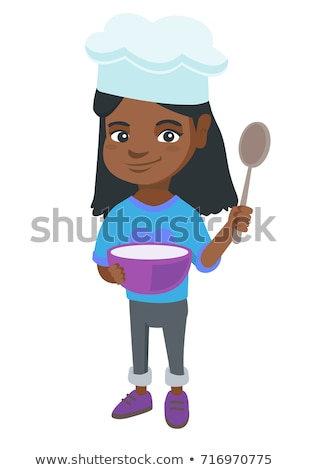 Little african girl holding a saucepan and a spoon Stock photo © RAStudio