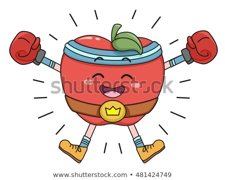 Pomme heureux champion ceinture mascotte illustration Photo stock © lenm