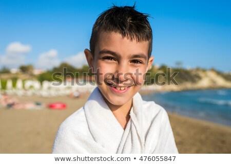 Erkek havlu deniz yaz seyahat eğlence Stok fotoğraf © IS2