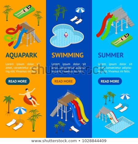eau · piscine · isométrique · 3D · élément · extérieur - photo stock © studioworkstock