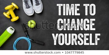 Foto stock: Fitness · equipamento · escuro · tempo · mudar · você · mesmo