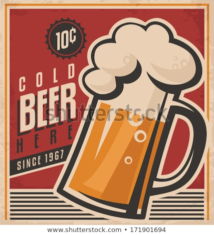 Cheers beer poster with beer mugs Stock photo © studioworkstock