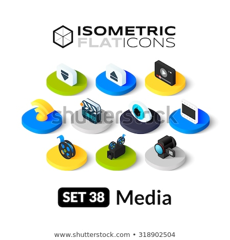 Previous isometric icon, isolated on color background Stock photo © sidmay