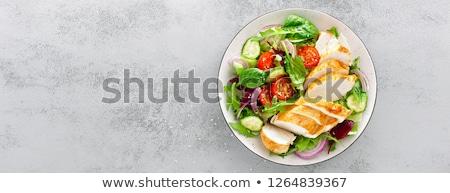 Pechuga de pollo ensalada alimentos restaurante pollo cena Foto stock © M-studio