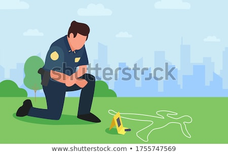criminal with dead body and bullets at crime scene Stock photo © dolgachov