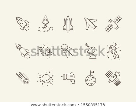 digital vector line icons set space and rockets stock photo © frimufilms