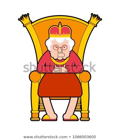 Koningin troon oude dame baas koninklijk stoel Stockfoto © MaryValery