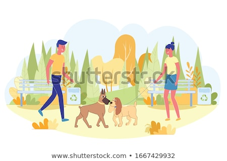 Dogs sniff each other. Pet vector illustration Stock photo © MaryValery