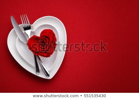 Gül beyaz yemek romantik güzellik görüntü Stok fotoğraf © yo-yo-