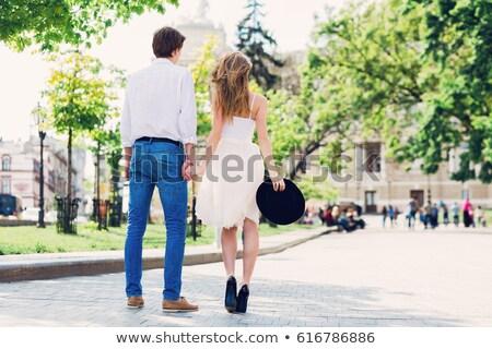 幸せ 美しい 徒歩 女性 ストックフォト © NeonShot