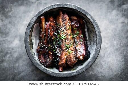 alla · griglia · carne · di · maiale · salsa · barbecue · cucina · ristorante - foto d'archivio © travelphotography