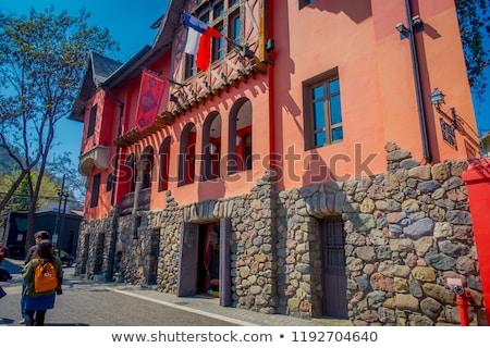 Santiago calle de la ciudad Chile colorido casas casa Foto stock © daboost