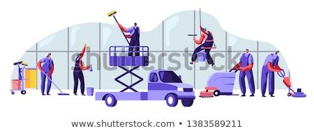 limpador · de · janelas · feliz · mão · indicação · negócio - foto stock © krisdog