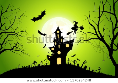 Halloween Background with Whitch and Haunted House. Stock photo © WaD