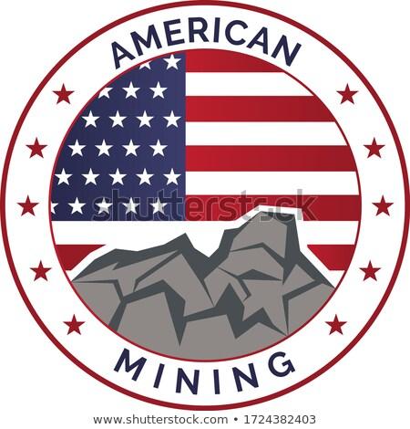 Americano escavadora EUA bandeira ícone estilo retro Foto stock © patrimonio